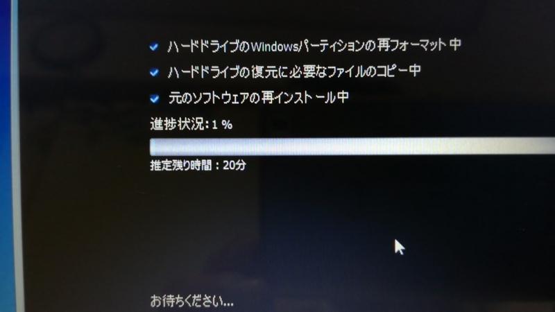 進行状況の画面